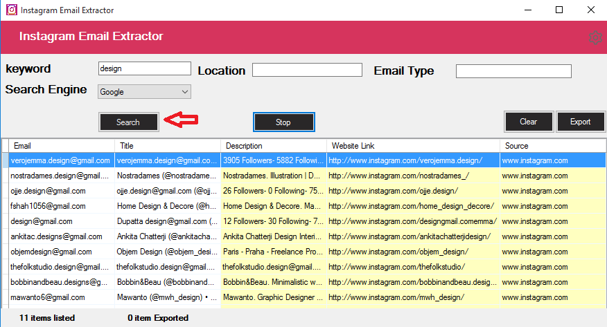 Instagram Email Scraping Tool - 1