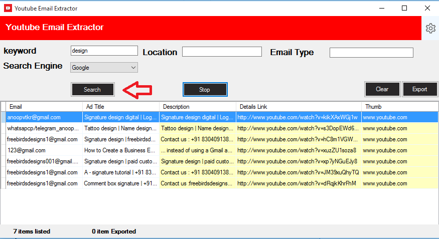 Youtube Email Scrapping Tool - 1